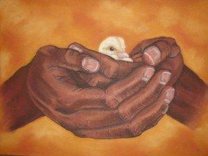 """Les mains de l'Ange""         Pastels secs"